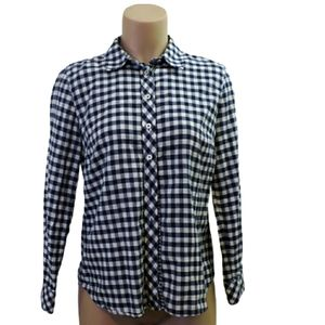 Talbots white & blue check 100% Cotton shirt Small